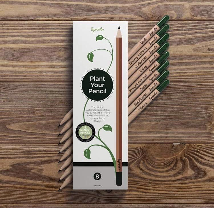 Mindful plantable pencils. Use, then plant. Seeds included. By Binks